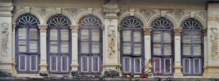 Sino-portuguese facades in Phuket Town. Multi colored sino-portuguese facades in Phuket Old Town, Thailand stock photography