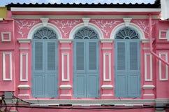 Sino-portuguese facades in Phuket Town. Multi colored sino-portuguese facades in Phuket Old Town, Thailand stock photos