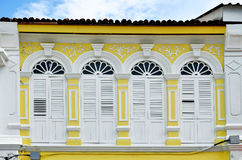Sino-portuguese facades in Phuket Town. Multi colored sino-portuguese facades in Phuket Old Town, Thailand stock images