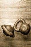 Sinos da chaleira no assoalho do gym Fotos de Stock Royalty Free