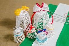 Sinos de confecção de malhas feitos a mão do Natal Imagens de Stock