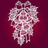 Sinos de Natal com azevinho Para o corte do laser ilustração royalty free