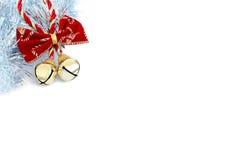 Sinos de Natal com ouropel de prata Imagens de Stock Royalty Free