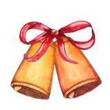 Sinos de Natal da aquarela com decoração do feriado ilustração do vetor