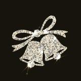 Sinos de Natal no estilo de prata com os alargamentos no fundo escuro Imagem de Stock Royalty Free