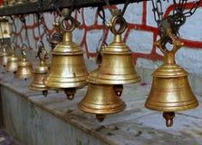 Sinos do templo, nepal Fotos de Stock Royalty Free