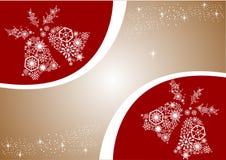 Sinos do White Christmas Vermelho e fundo do ouro Sagacidade do cartão do feriado Fotografia de Stock