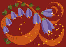 Sinos estilizados da floresta das flores Ilustração Stock