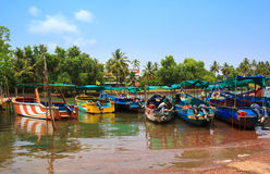 Sinquerim-Candolim Boat Owners Association in Goa, India. Boats are in the harbor. Stock Photos