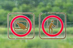 Sins of what not to do in a train.  Royalty Free Stock Photo