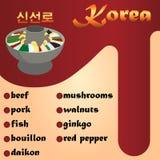 Sinseollo es un plato coreano tradicional Carne de vaca, cerdo, pescado, caldo, daikon, setas, nueces, ginkgo, pimienta Imágenes de archivo libres de regalías