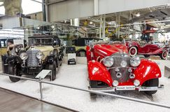 Classic vintage Mercedes Benz cars on display in German Sinsheim museum royalty free stock photography