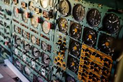 SINSHEIM, GERMANY - OCTOBER 16, 2018: Technik Museum. Technology of airlines. Analog variables of various parameters