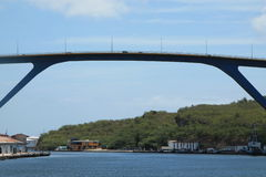 Sint Anna Bay Curacao. View on the Juliana Bridge of Curacao stock images