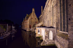 Sint-Janshospitaal from river at night, Bruges Stock Images