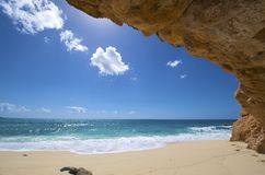 Sint Maarten, Cupecoy beach. Sint Maarten, idyllic Cupecoy beach deserted Stock Photo
