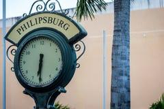 Sint Maarten Downtown. Philipsburg Sint Maarten Downtown Clock Stock Images