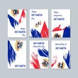 Sint Maarten Patriotic Cards für Nationaltag Lizenzfreies Stockbild