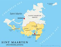 Sint Maarten Political Map Images stock