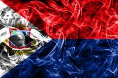 Sint Maarten smoke flag, Netherlands dependent territory flag.  Royalty Free Stock Photography