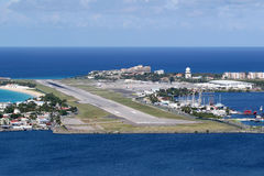 Sint Maarten St. Martin Airport Caribbean. St. Martin, Netherlands Antilles - September 18, 2016: Overview St. Martin Airport SXM in the Netherlands Antilles. St stock photography