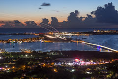 Sint Maarten St. Martin Airport Caribbean at night. St. Martin, Netherlands Antilles - September 18, 2016: Overview St. Martin Airport SXM in the Netherlands stock photo