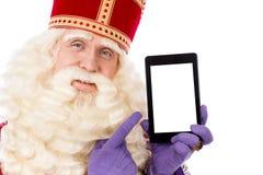 Sint nicolaas met tablet Royalty Free Stock Image
