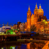 Sint-Nicolaaskerk at Night, Amsterdam Stock Images