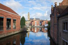 Sint Salvatorskathedraal over canal, Bruges Royalty Free Stock Photo