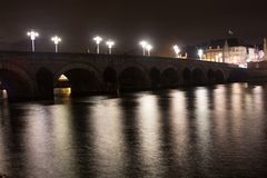 Sint Servaas bridge with christmas lights stock photography
