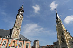 Sint Truiden Town hall - 06. The town hall in the historical centre of Sint-Truiden Belgium with a 17th-century tower classified by UNESCO as a World Heritage Stock Image