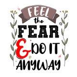Sinta o medo e faça-o de qualquer maneira Citações inspiradores superiores Cita ilustração do vetor