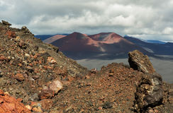 Sintelkegel van de Spleetuitbarsting 1975 van Tolbachik van de het Noordendoorbraak Grote Stock Fotografie