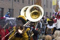 Sinterklaas和Zwarte Piet到达 库存图片