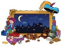 Sinterklaas题材-金与礼物的画框 免版税库存照片