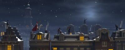 Sinterklaas και το Pieten στις στέγες τη νύχτα ελεύθερη απεικόνιση δικαιώματος