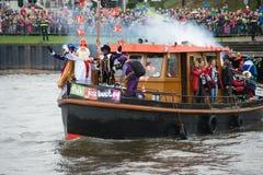 Sinterklaas που φθάνει στη βάρκα Στοκ Εικόνες