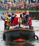 Sinterklaas που φθάνει στη βάρκα Στοκ εικόνες με δικαίωμα ελεύθερης χρήσης