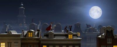 Sinterklaas и Pieten на крышах на ноче Стоковые Фото