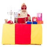 Sinterklaas arbetar Arkivfoton