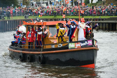 Sinterklaas arriving on boat Royalty Free Stock Photography