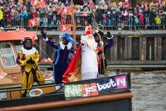 Sinterklaas arriving on boat Stock Photo
