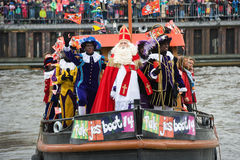 Sinterklaas arriving on boat Stock Image