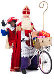 Sinterklaas and Black Pete on a bike Royalty Free Stock Photo
