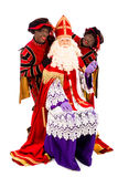 Sinterklaas  and black pete on white background. Sinterklaas and zwarte pieten. isolated on white background. Dutch character of Santa Claus Royalty Free Stock Photo