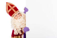 Sinterklaas with blank cardboard Royalty Free Stock Photo