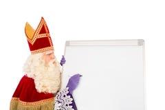 Sinterklaas with blank whiteboard Stock Image