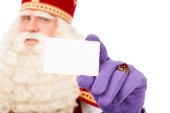 Sinterklaas  with business card on white background Stock Photos