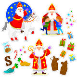 Sinterklaas collection. Set of cartoons for the holiday of Sinterklaas Stock Image