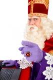 Sinterklaas com portátil Foto de Stock
